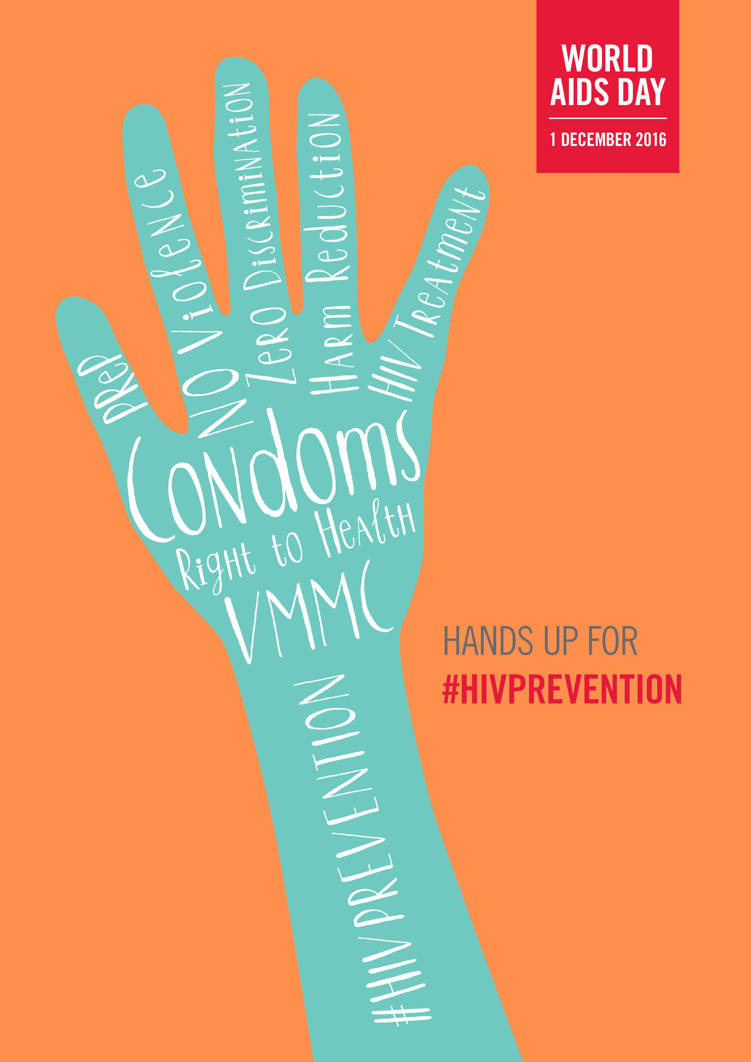 1 DICEMBRE. Giornata mondiale di lotta all'Aids. ALZIAMO LA MANO  #HIVPREVENTION